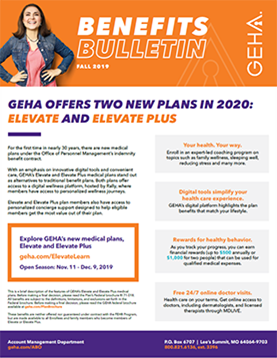 cover image for spring 2019 issue of geha's benefits bulletin newsletter for federal agency benefits officers